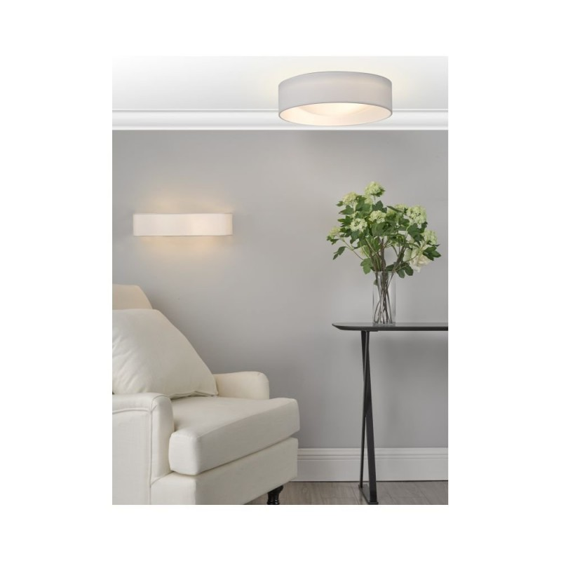 Dar-NYS502 - Nysa - White Faux Silk & White Diffuser 2 Light Flush