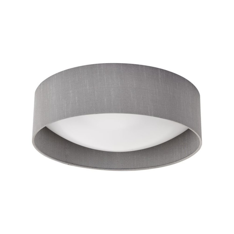 Dar-NYS5039 - Nysa - Grey Faux Silk & White Diffuser 2 Light Flush