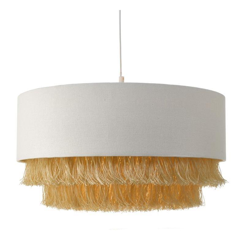 Dar-OLG6512 - Olgia - Ivory with Gold Fringe Fabric Shade for Hanging Pendant