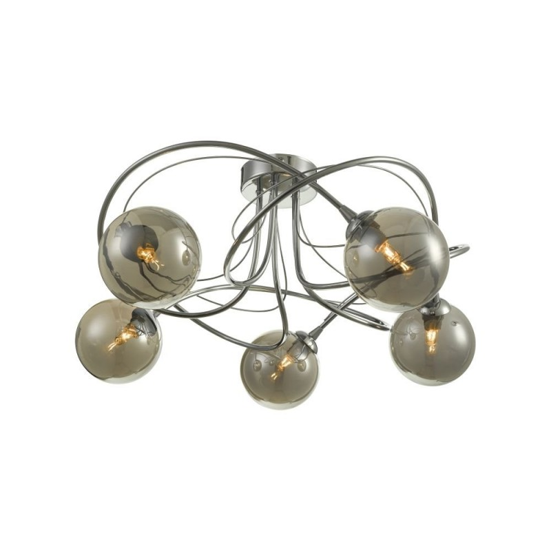 Wisebuys-ONA5450-01 - Onawa - Smoky Glass & Chrome 5 Light Semi Flush