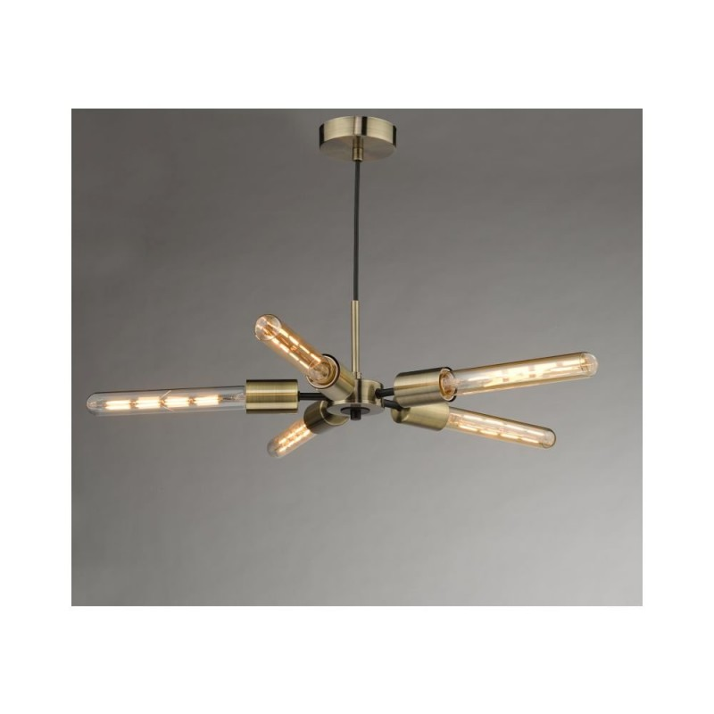 Dar-ONI0575 - Onika - Antique Brass & Black 5 Light Centre Fitting