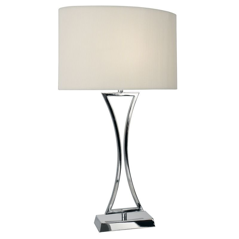 Wisebuys-OPO4150 - Oporto - Cream Oval Shade with Chrome Table Lamp