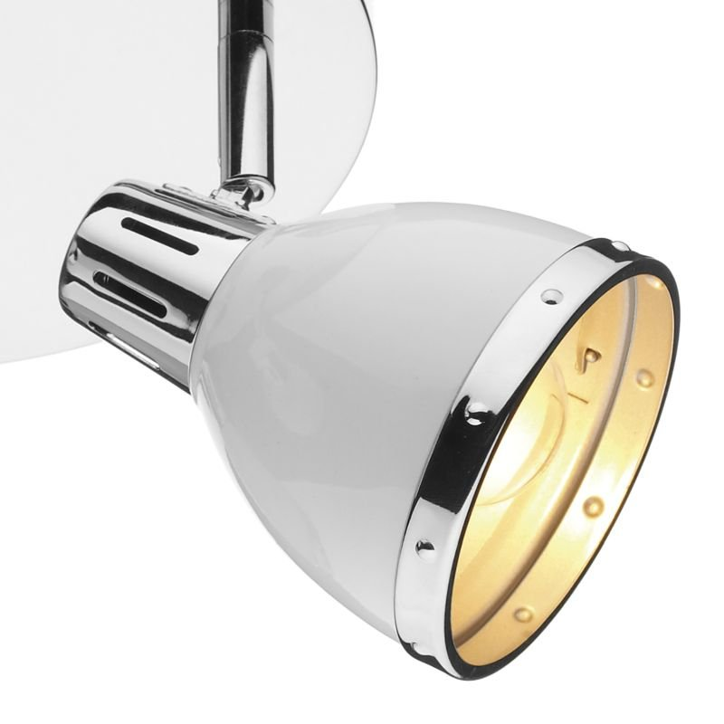 Dar-OSA762 - Osaka - Modern White and Polished Chrome Round Plate 3 Spotlights