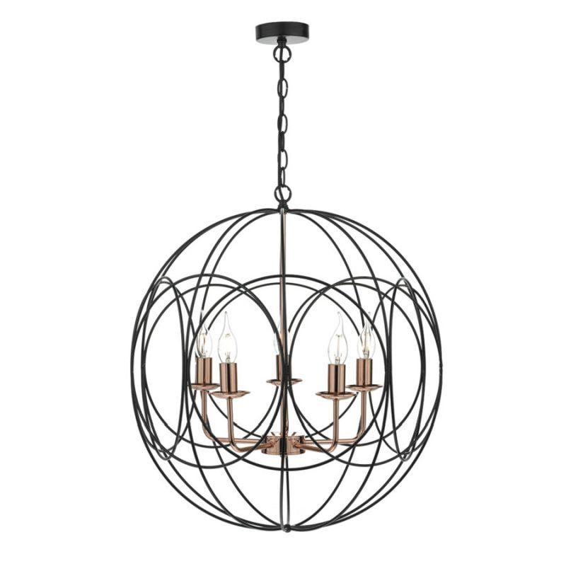 Dar-PHO0522 - Phoenix - Black and Copper Globe 5 Light Hanging Pendant