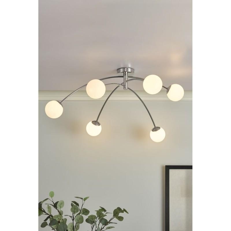 Dar-PUG6450 - Puglia - Opal Glass & Chrome 6 Light Centre Fitting
