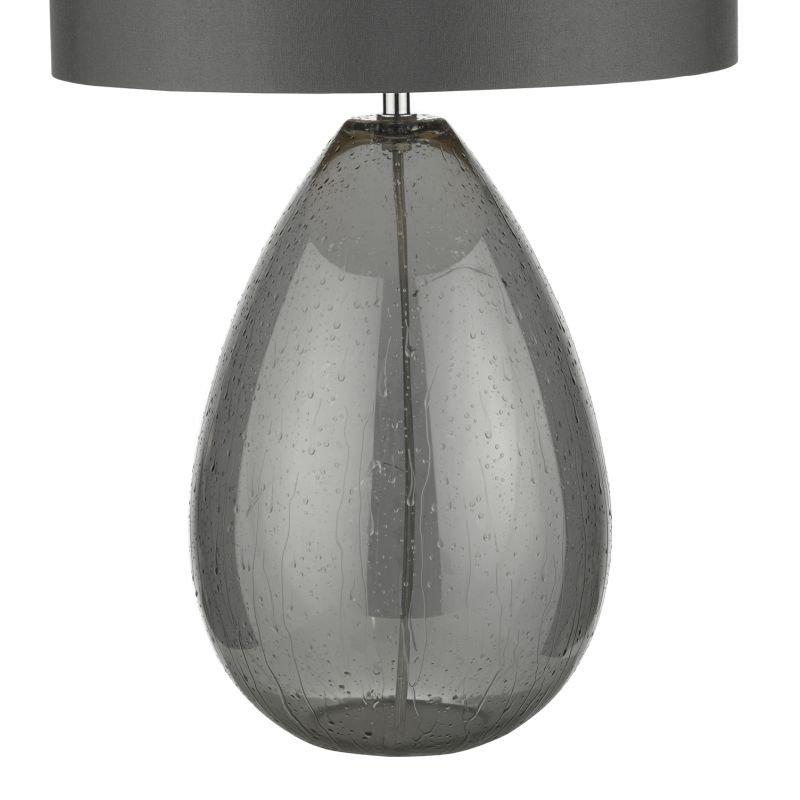 Dar-RAI4239 - Rain - Smoked Glass with Grey Shade Table Lamp