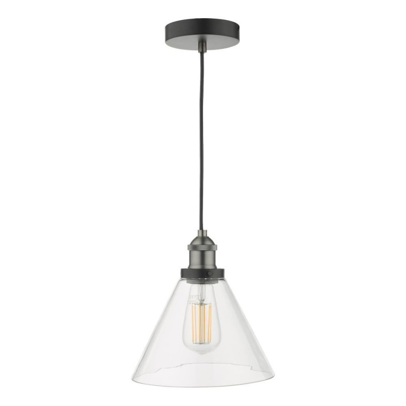 Dar-RAY0138 - Ray - Clear Glass & Antique Nickel Pendant