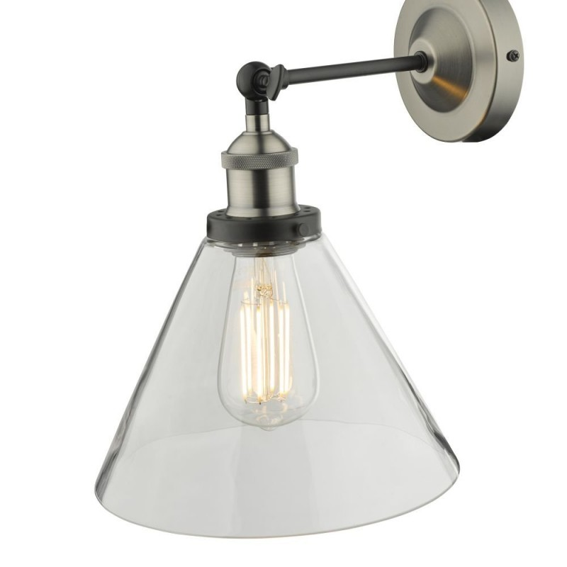 Dar-RAY0738 - Ray - Clear Glass & Antique Nickel Wall Lamp