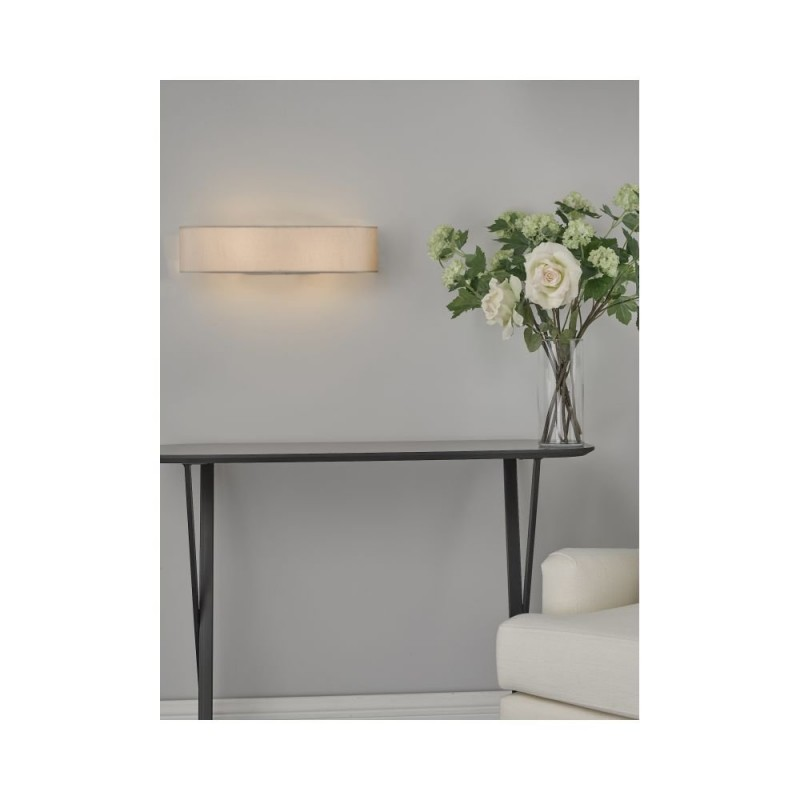 Dar-RON092 - Ronda - Ivory Fabric with Diffuser 2 Light Wall Lamp