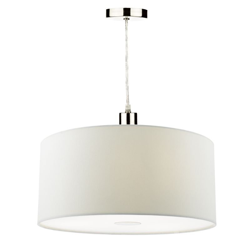 Dar-RON652 - Ronda - White Smooth Faux Silk Fabric Shade with Diffuser