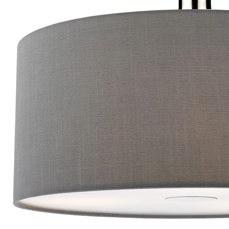 Dar-RON6539 - Ronda - Grey Smooth Faux Silk Fabric Shade with Diffuser