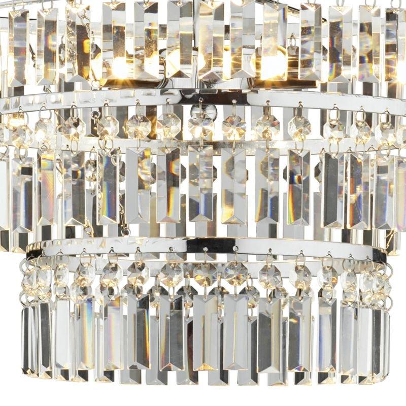 Dar-ROW5450 - Rowena - Crystal with Chrome 3 Light Three Tiers Semi Flush