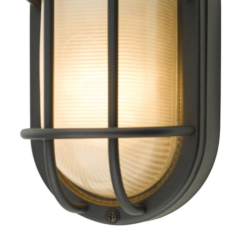 Dar-SAL5222 - Salcombe - Outdoor Matt Black with Glass Wall Lamp
