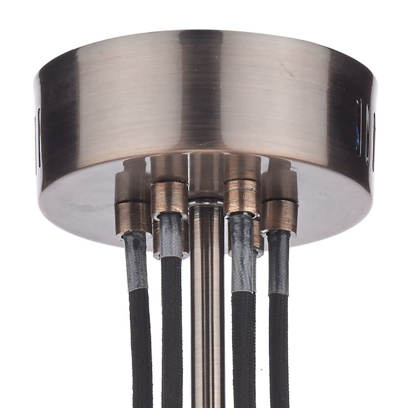 Dar-SCR0664 - Scroll - Transparent Glass with Copper 6 Light Centre Fitting