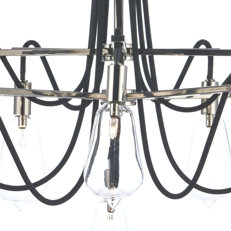Dar-SCR2338 - Scroll - Transparent Glass with Polish Nickel 10 Light Centre Fitting