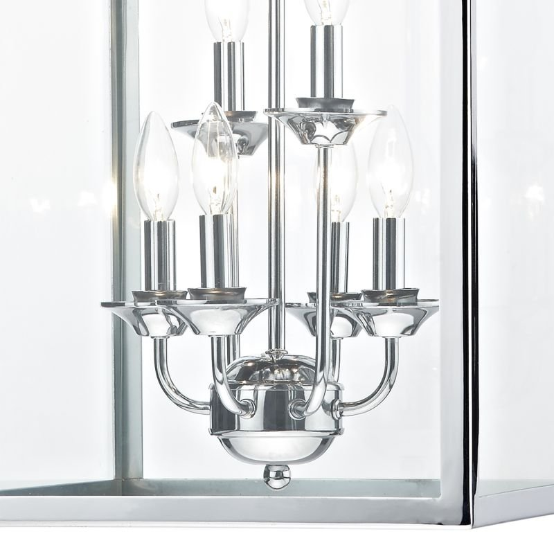Dar-SEN0650 - Senator - Polished Chrome and Clear Glass 6 Light Lantern Pendant