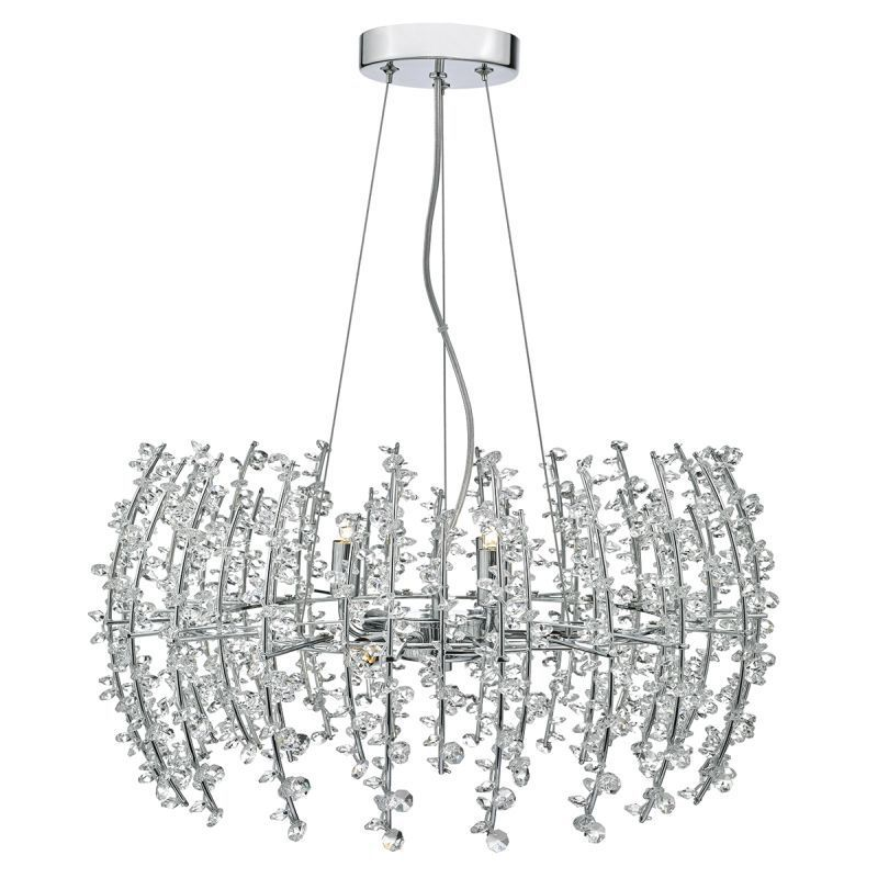 Dar-SES0650 - Sestina - Decorative Rods And Crystal Beads 6 Light Pendant