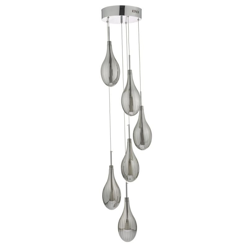 Dar-SET6410 - Seta - Decorative Smoky Glass with Chrome 6 Light Cluster Pendant