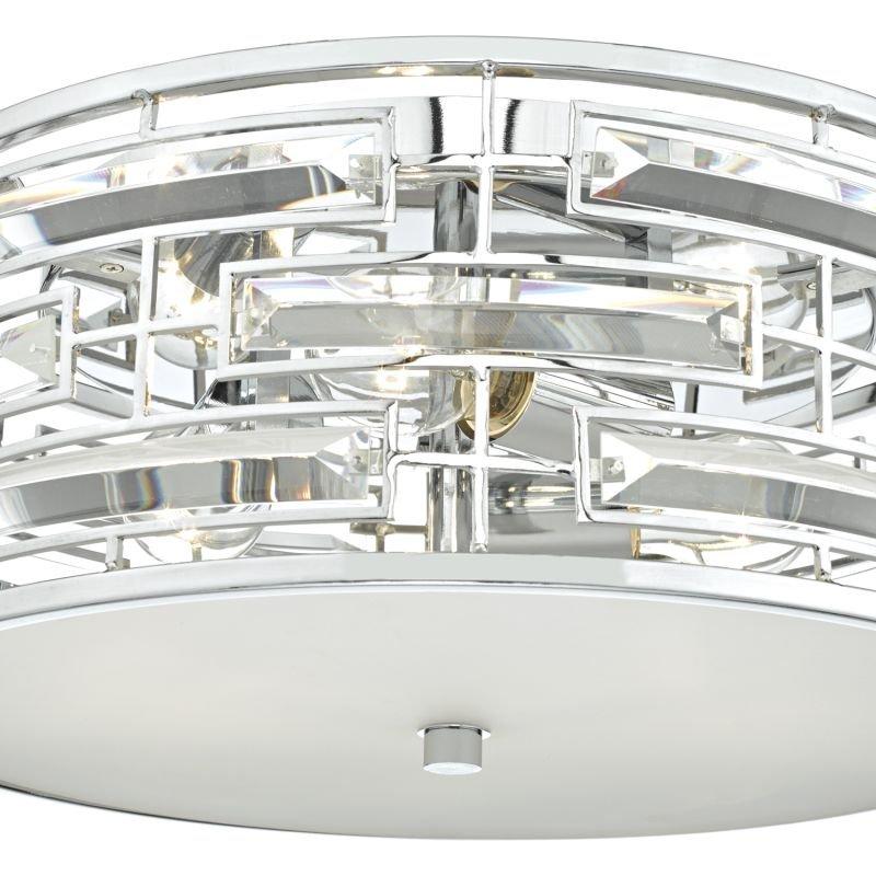 Dar-SEV5250 - Seville - Polished Chrome and Crystal 3 Light Ceiling Lamp