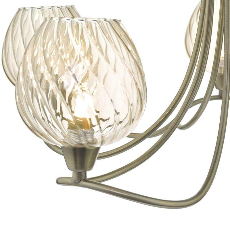 Dar-SIV5475 - Sivyer - Amber Glass & Antique Brass 5 Light Ceiling Lamp