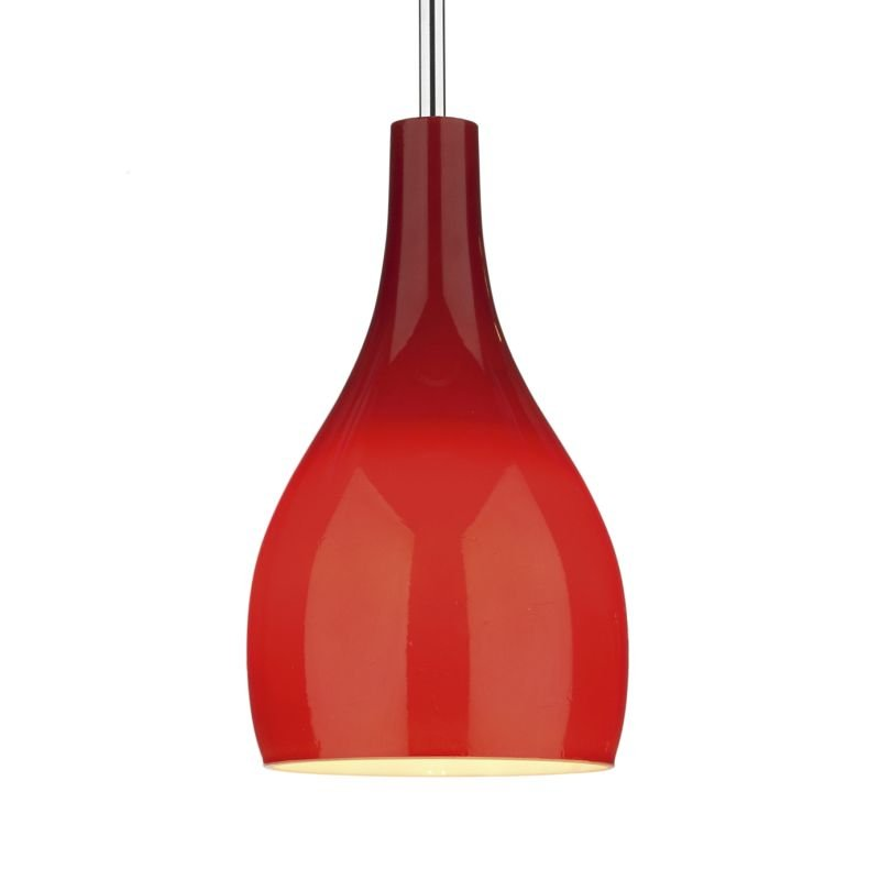 Dar-SOH0125 - Soho - Red Glass with Polished Chrome Hanging Pendant