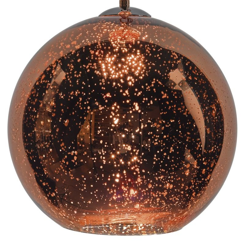 Dar-SPE0164 - Speckle - Glass Globe of Dappled, Speckled Copper Single Pendant