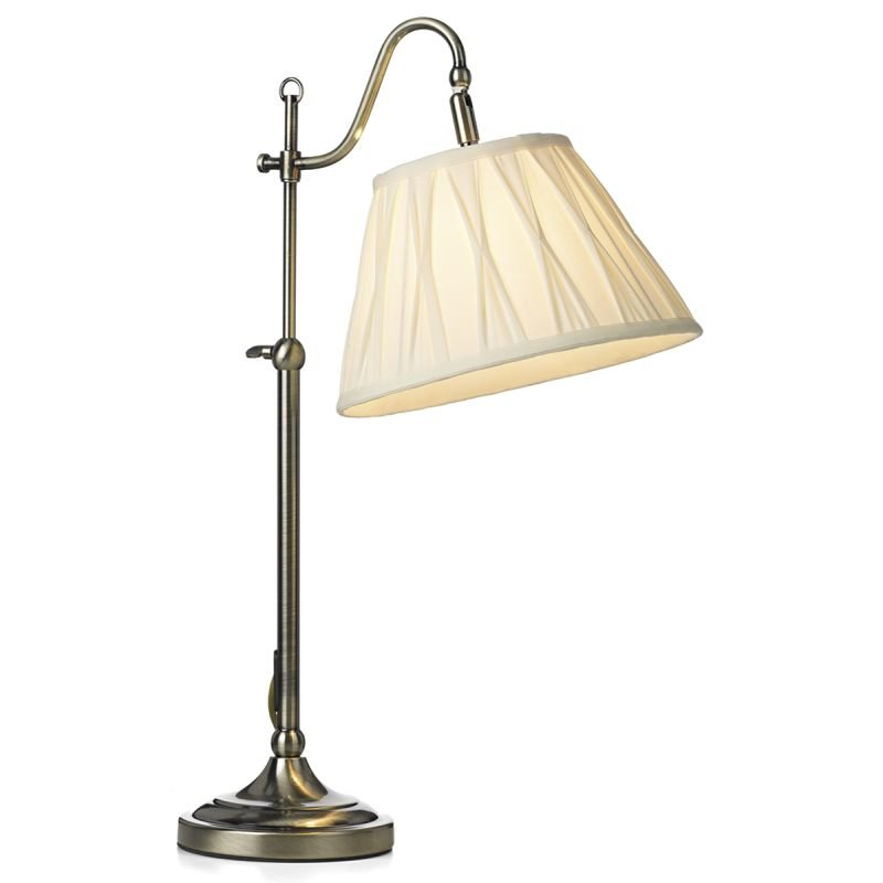 Dar-SUF4075-X - Suffolk - Rise & Fall Antique Brass with Shade Table Lamp