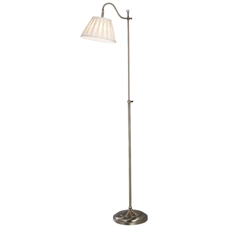Dar-SUF4975-X - Suffolk - Rise & Fall Antique Brass with Shade Floor Lamp
