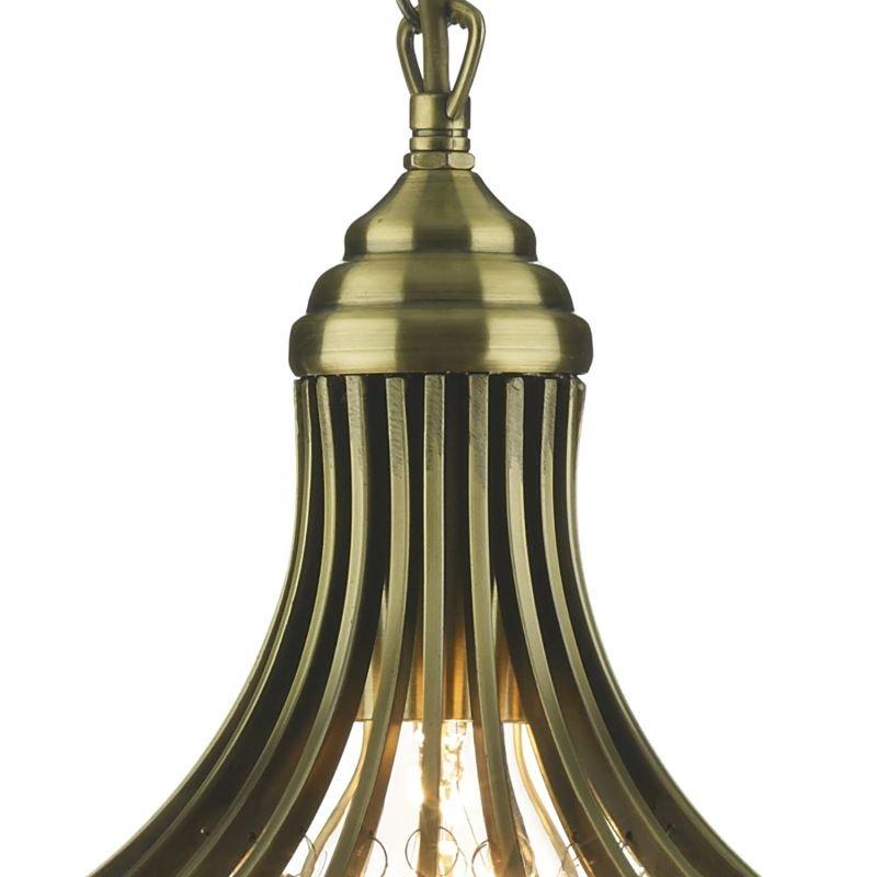 Dar-SUR0108 - Suri -  Crystal with Antique Brass Single Hanging Pendant