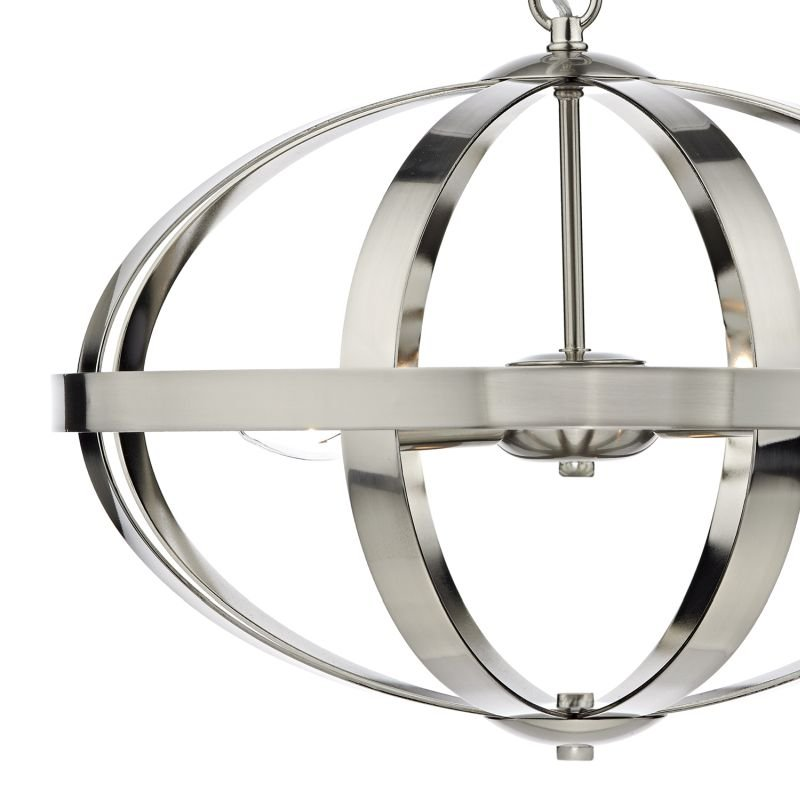 Dar-SYM0346 - Symbol - Oval Satin Chrome 3 Light Hanging Pendant