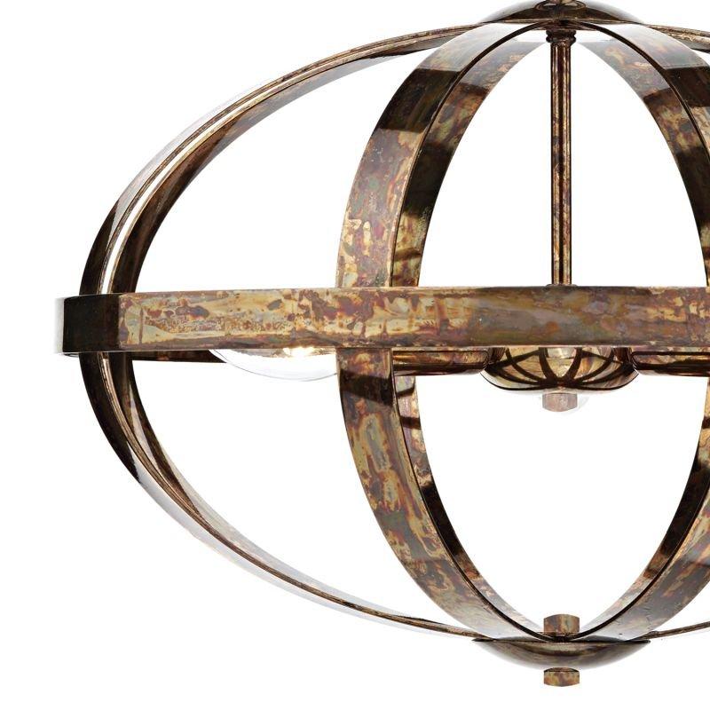 Dar-SYM0364 - Symbol - Oval Petrol Copper 3 Light Hanging Pendant