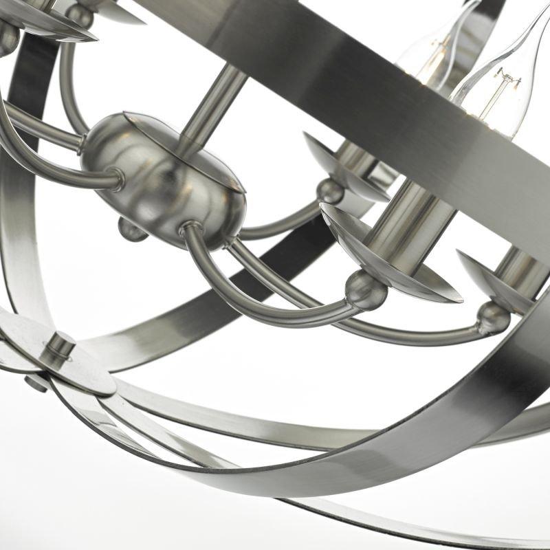 Dar-SYM0646 - Symbol - Oval Satin Chrome 6 Light Hanging Pendant