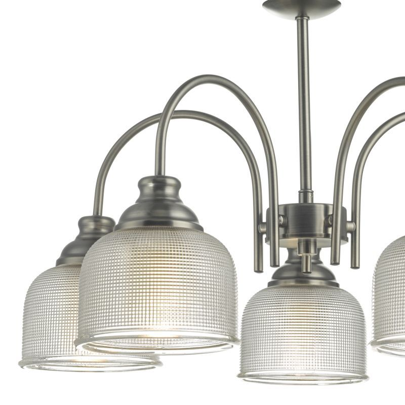 Dar-TAC0561 - Tack - Antique Chrome with Textured Glass 5 Light Centre Fitting