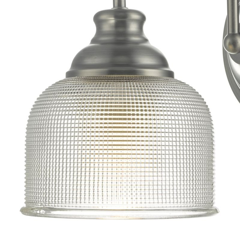 Dar-TAC0761 - Tack - Antique Chrome with Textured Glass Wall Lamp