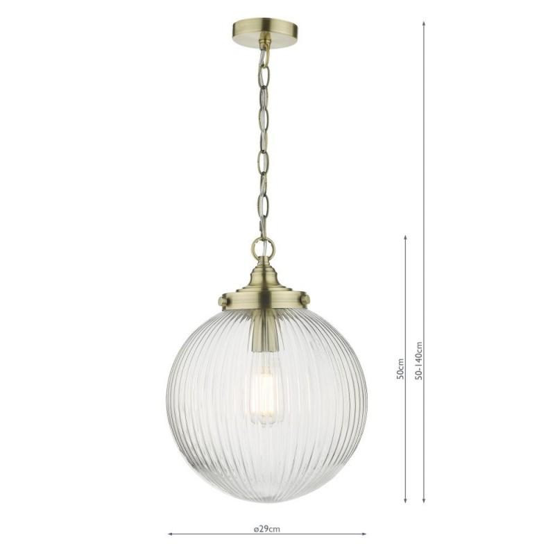 Dar-TAM0175 - Tamara - Clear Ribbed Glass & Antique Brass Pendant
