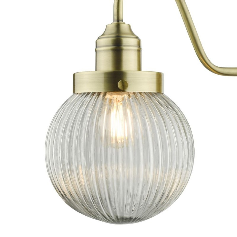 Dar-TAM0775 - Tamara - Clear Ribbed Glass & Antique Brass Wall Lamp