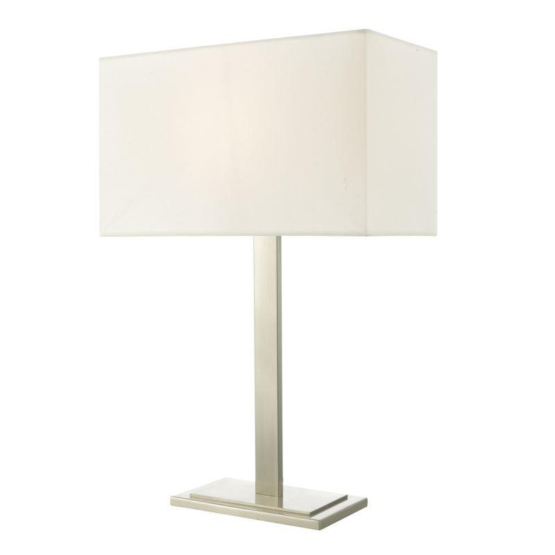 Dar-TEG4246 - Tegal - Ivory Shade & Satin Nickel Table Lamp