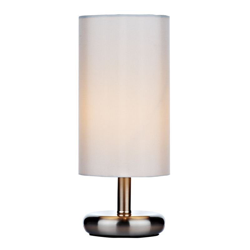 Wisebuys-TIC4133 - Tico - Ivory Cotton with Satin Chrome Touch Lamp