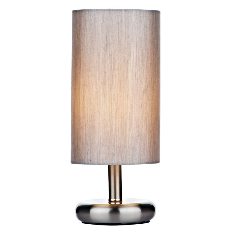 Wisebuys-TIC4139 - Tico - Grey Cotton with Satin Chrome Touch Lamp