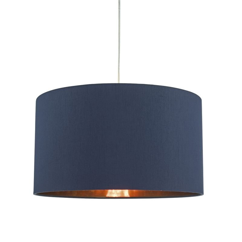 Dar-TIM6523 - Timon - Blue and Copper Fabric Shade for Hanging Pendant