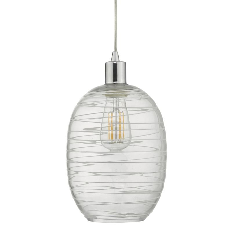 Dar-TIZ6508 - Tizi - Clear Glass with White Details Shade for Hanging Pendant