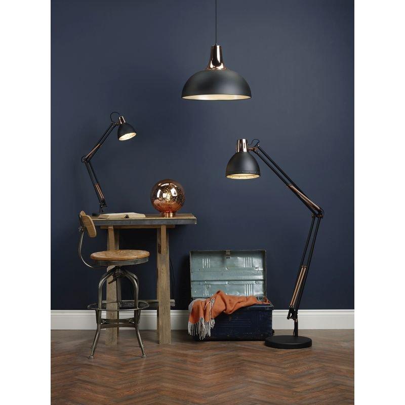 Dar-TOR0154 - Toronto - Matt Black & Copper Single Hanging Pendant