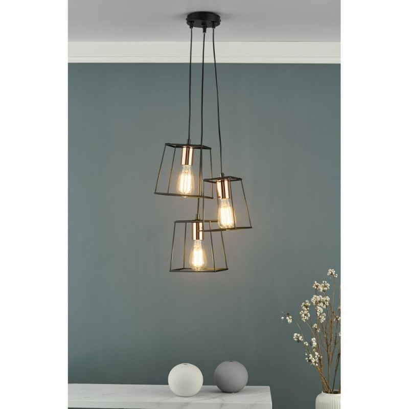 Dar-TOW0322 - Tower - Black and Copper 3 Light Cluster Pendant