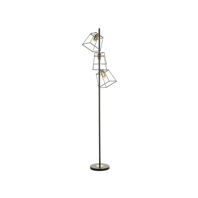 Dar-TOW4922 - Tower - Black & Copper Cage 3 Light Floor Lamp