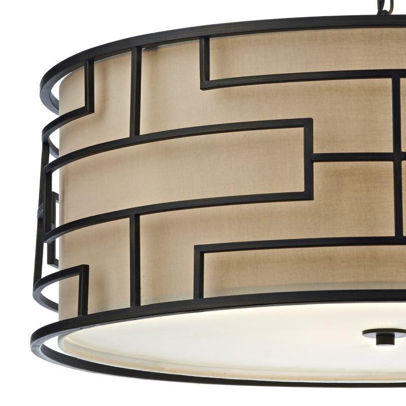 Dar-TUM0463 - Tumola - Natural Linen with Bronze 4 Light Hanging Pendant