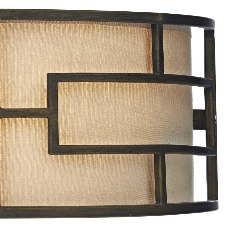 Dar-TUM0763 - Tumola - Natural Linen with Bronze 2 Light Wall Lamp