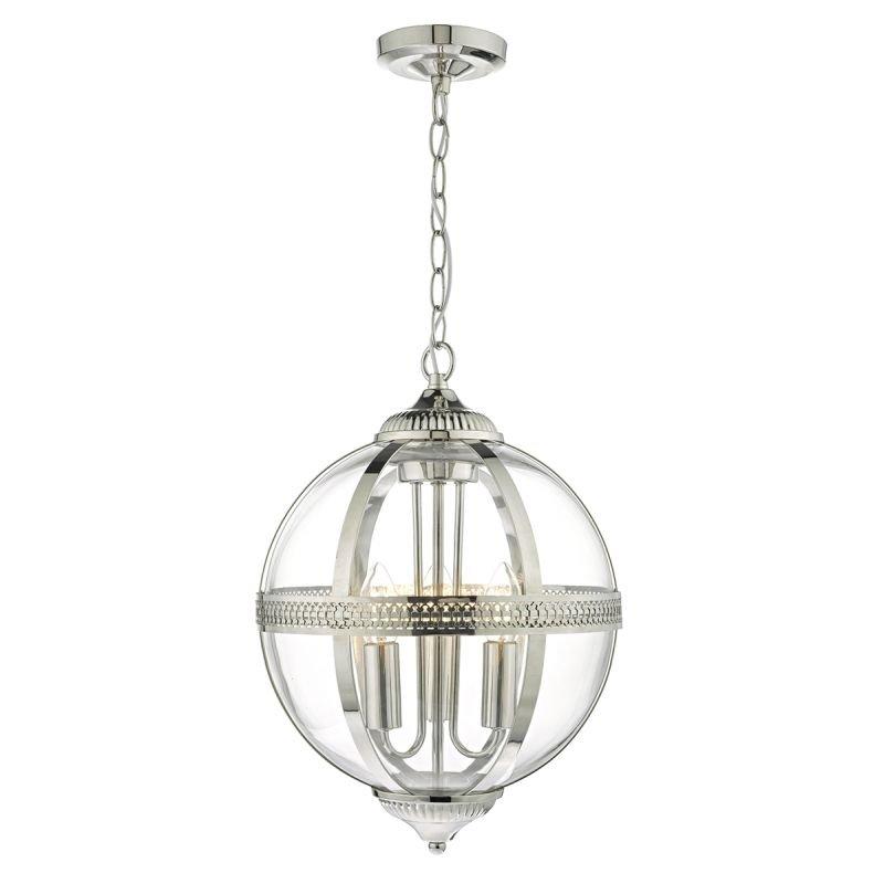 Dar-VAN0338 - Vanessa - Clear Glass Globe with Polish Nickel 3 Light  Pendant