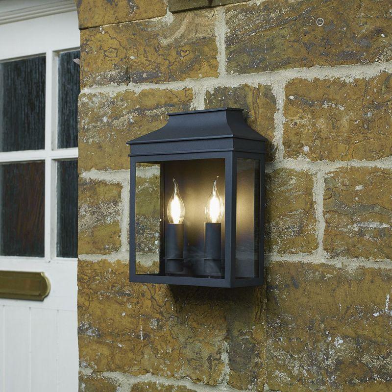 Dar-VAP5022 - Vapour - Outdoor Black Coach Lantern Double Wall Light