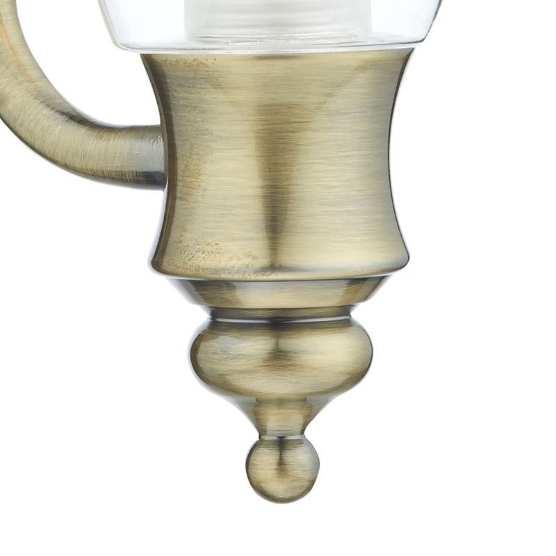 Dar-VES0775 - Vestry - Bathroom Clear Glass and Antique Brass Wall Lamp
