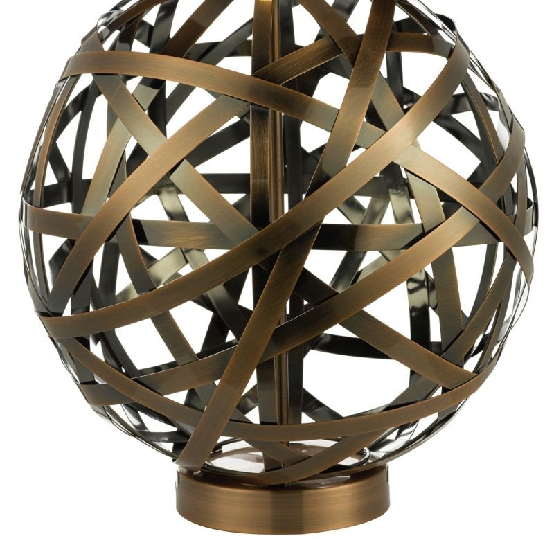 Dar-VOY4264 - Voyage - Brown Shade with Antique Copper Ball Bands Table Lamp